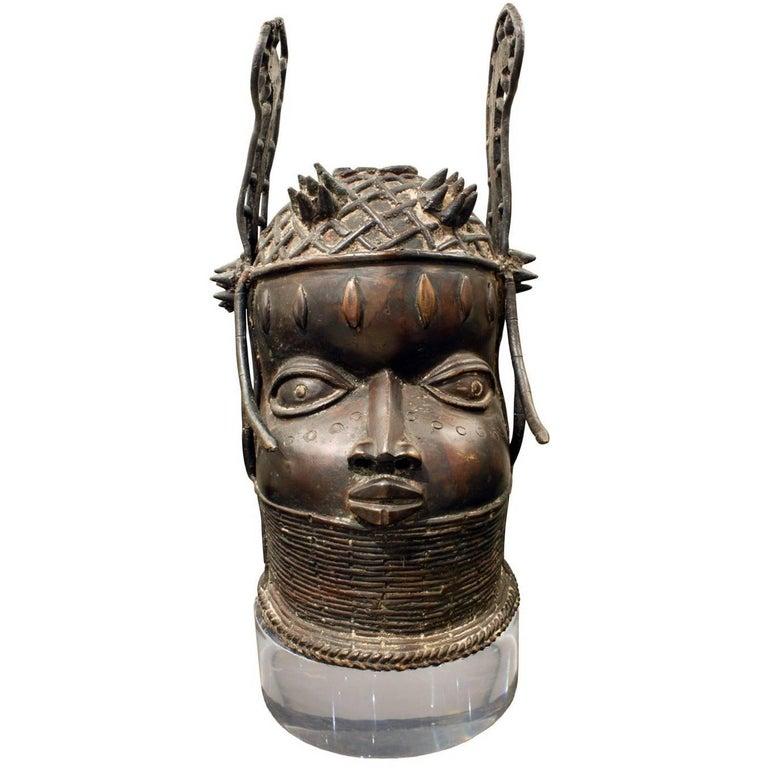 Karl Springer Benin Head on Custom Lucite Base, 1970s For Sale