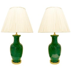Fine Pair of Emerald Green Porcelain Table Lamps, 1960s