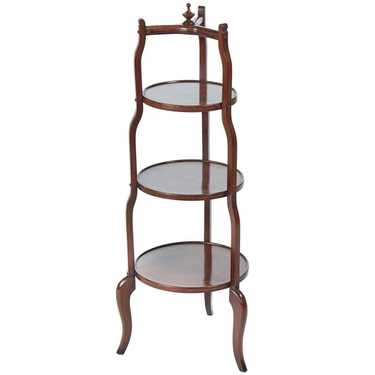 Inlaid Mahogany Three-Tier Cake Stand