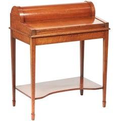 Unusual Antique Oak Freestanding Cylinder Desk