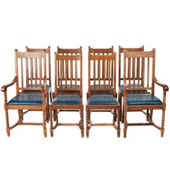 Quality Set of Eight Antique Oak Dining Chairs