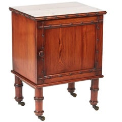 Unusual Pitch Pine Bedside Cabinet