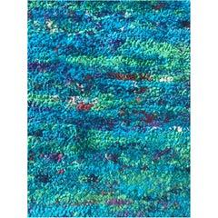 Very Long Wool Nepalese Runner Rug in Jewel Colors of the Sea