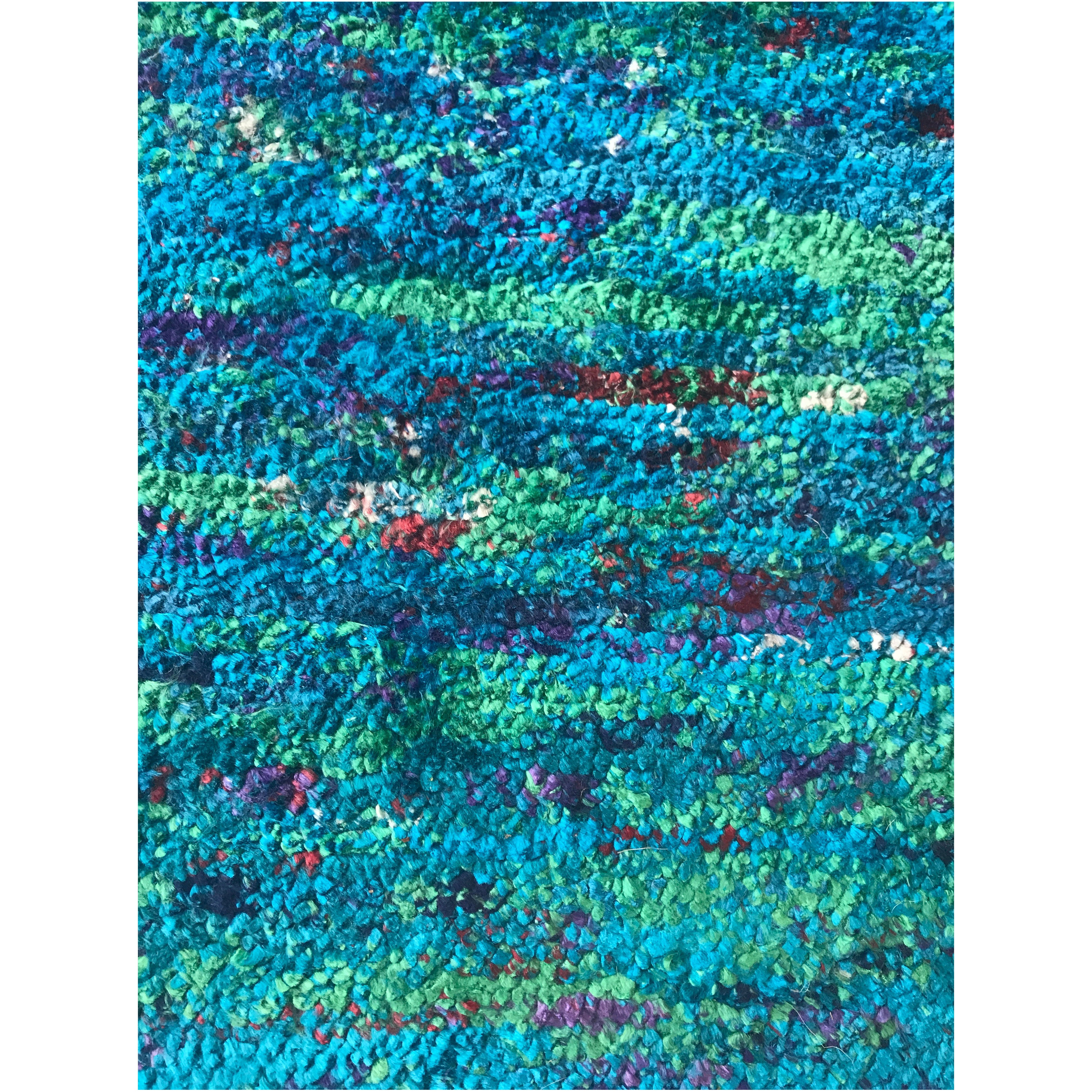Very Long Wool Nepalese Runner Rug In Jewel Colors Of The Sea For At 1stdibs