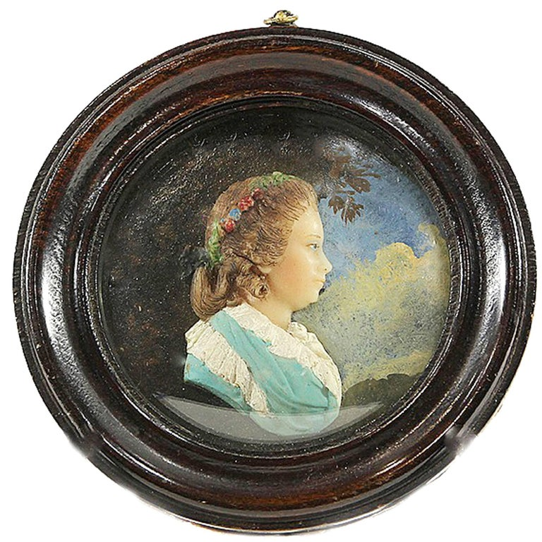 Wax Portrait of Queen Charlotte of Great Britain, Attributed to John Flaxman For Sale