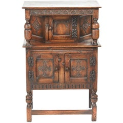 Small Antique Carved Oak Count Cupboard