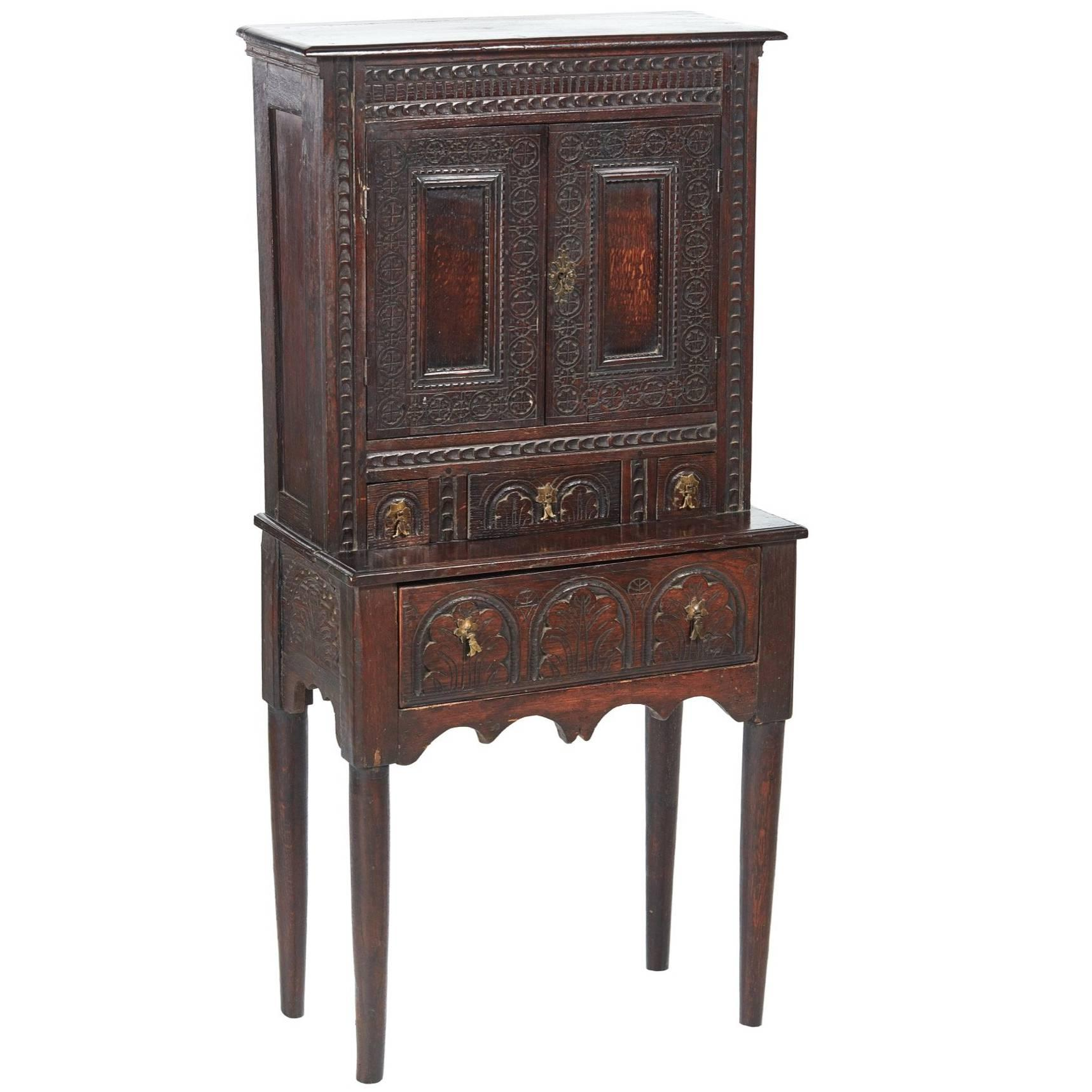 Small Antique Carved Oak Cupboard For Sale