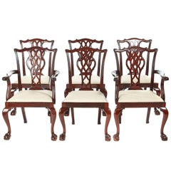 Fine Quality Set of Six Mahogany Chippendale Style Dining Chairs