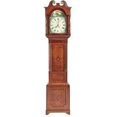 George III Oak and Mahogany Grandfather Clock