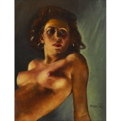 Erotic Nude by Fried Pal, Hungarian 1893-1976, Oil on Panel, Stunning
