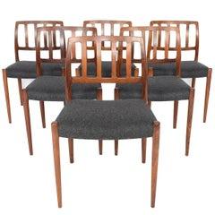 Set of N.O. Møller Model 83 Danish Modern Midcentury Dining Chairs in Rosewood