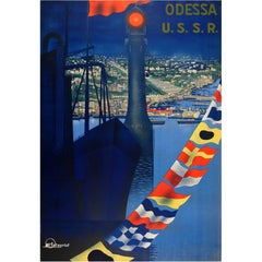 Original Vintage Soviet Intourist Travel Poster for Odessa USSR on the Black Sea