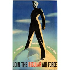 Original Vintage WWII Military Recruitment Poster - Join The Regular Air Force