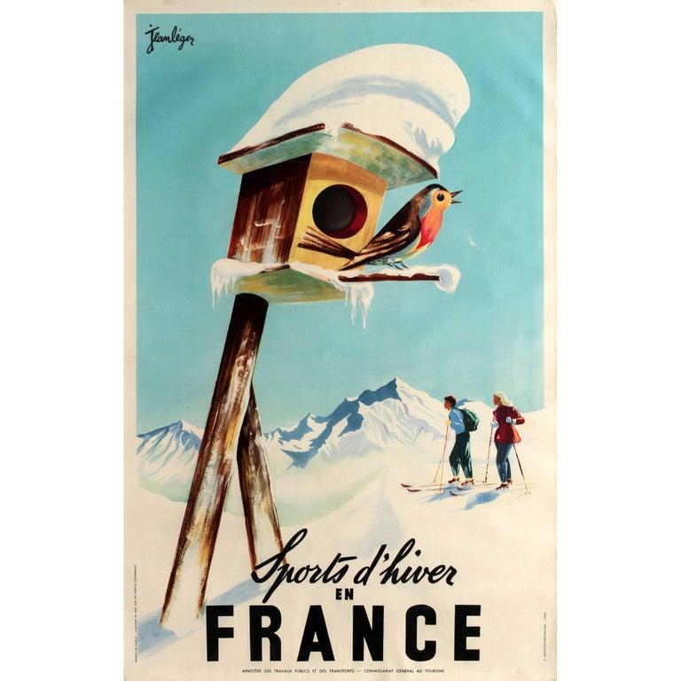 Original Vintage Winter Sports Skiing Poster by Leger - Sports d'Hiver En France