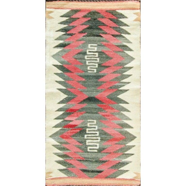 Rare Double Saddle Navajo Rug