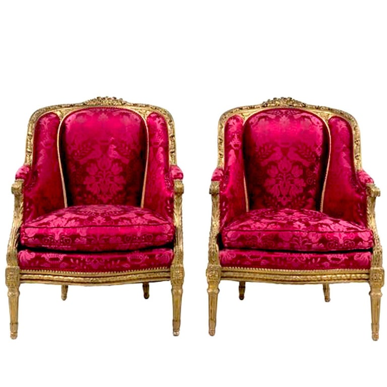 Pair of Giltwood Bergeres in Louis XVI Style