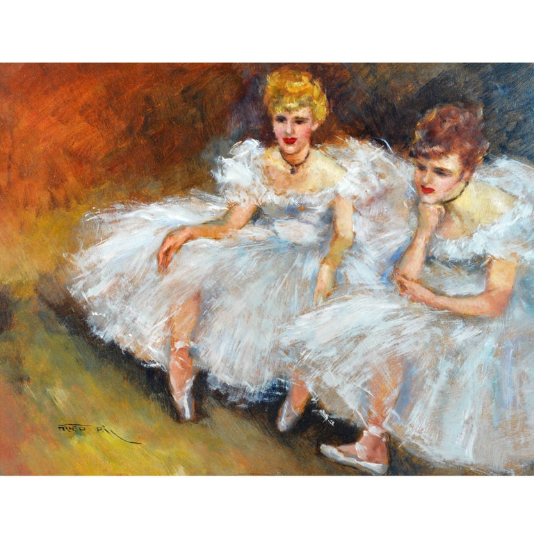 'The Ballerinas' by Fried Pal, Hungarian 1893-1976, Oil on Panel, Stunning For Sale