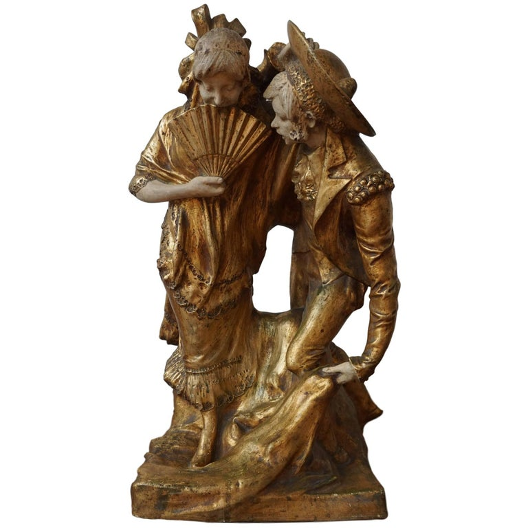 19th Century Spanish Painted and Gilt Terracotta Stamped Statue