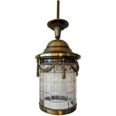20th Century Brass Lantern Hanging Pendant with Handblown Circular Glass