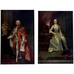 Magnificent Companion Pair of 18th Century Life-Size Portraits by Enoch Seeman