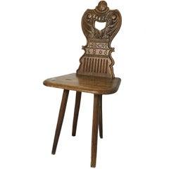 Antique English Georgian Spinning Chair, 1806
