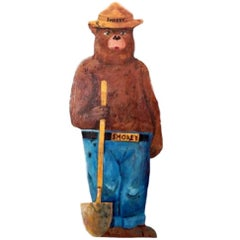 Hand-Painted Wooden Life-Sized Smokey the Bear
