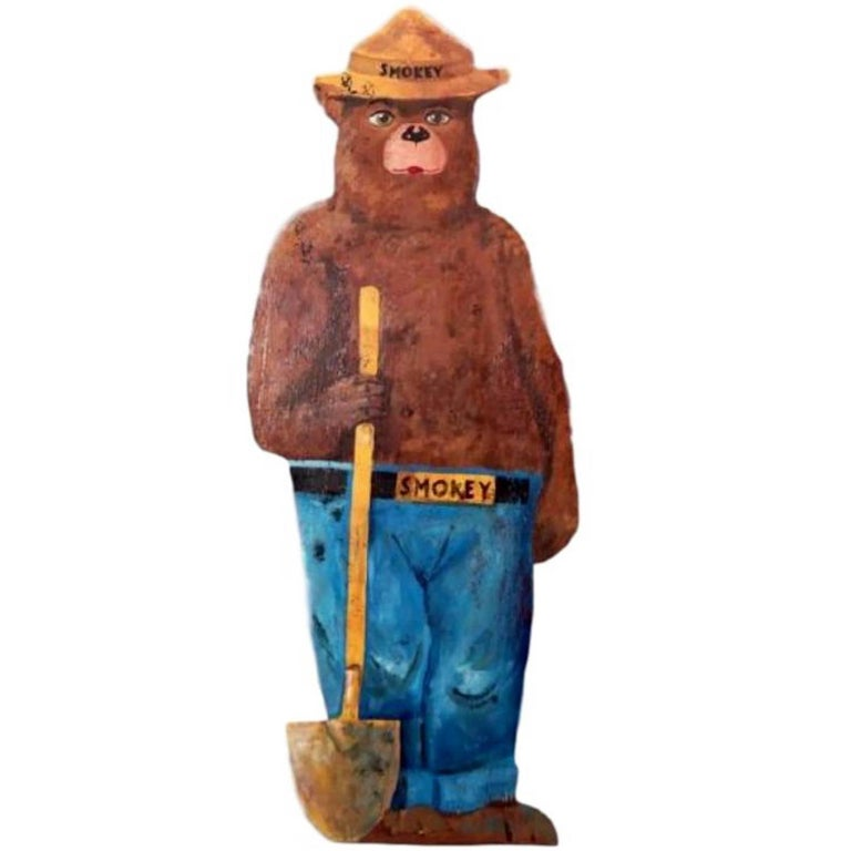 Hand-Painted Wooden Life-Sized Smokey the Bear For Sale