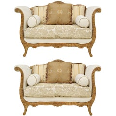 Pair of Neoclassical Lyre Form Settees