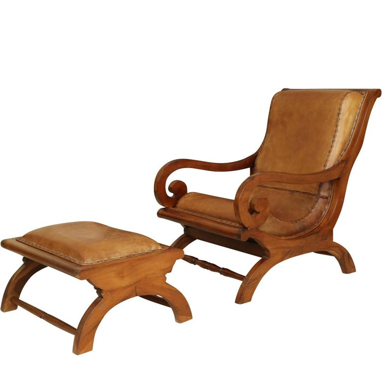 Anglo Indian Style Leather Chair And Ottoman At 1stdibs