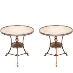 Pair of Mirrored Top Round Side Tables