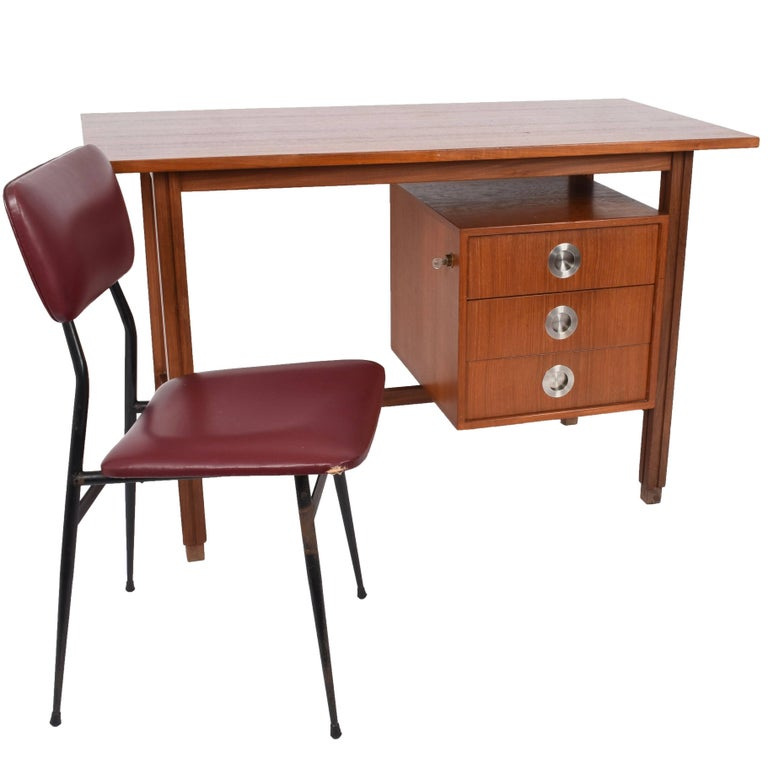 Small Desk Teak and Steel, Scandinavian 1960s, Mid-Century Modern, Denmark