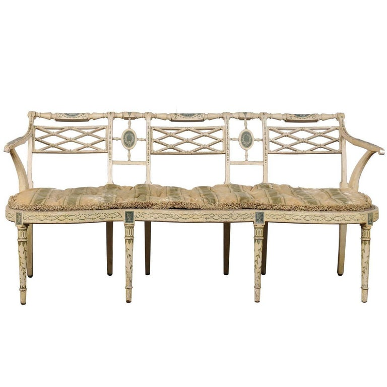 19th Century English Sheraton Painted Decorated and Caned Settee