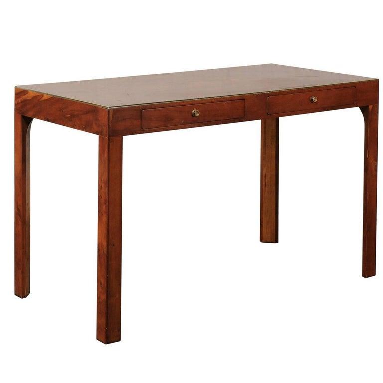 20th Century Modern English Yew Wood Desk with Brass Trim