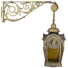 Cast Bronze Lantern Sconce with Bracket