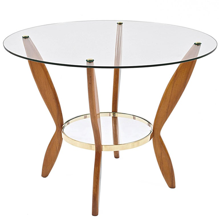 Italian Coffee Table Attributed to Gio Ponti Glass, Wood and Brass, 1950s
