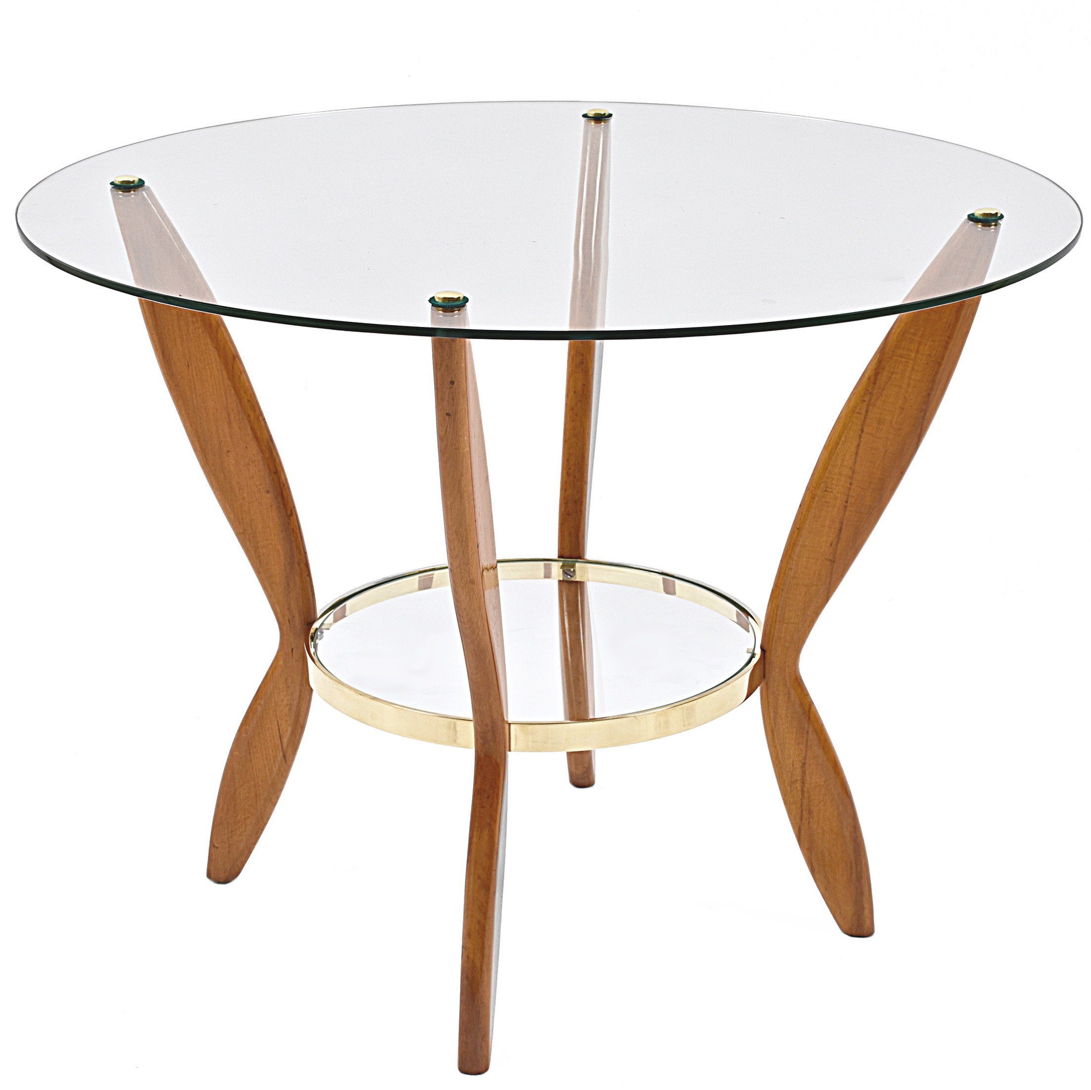 Italian Coffee Table Attributed To Gio Ponti Gl Wood And Br 1950s For At 1stdibs