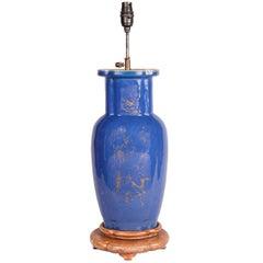 19th Century Chinese Powder Blue Vase/Lamp