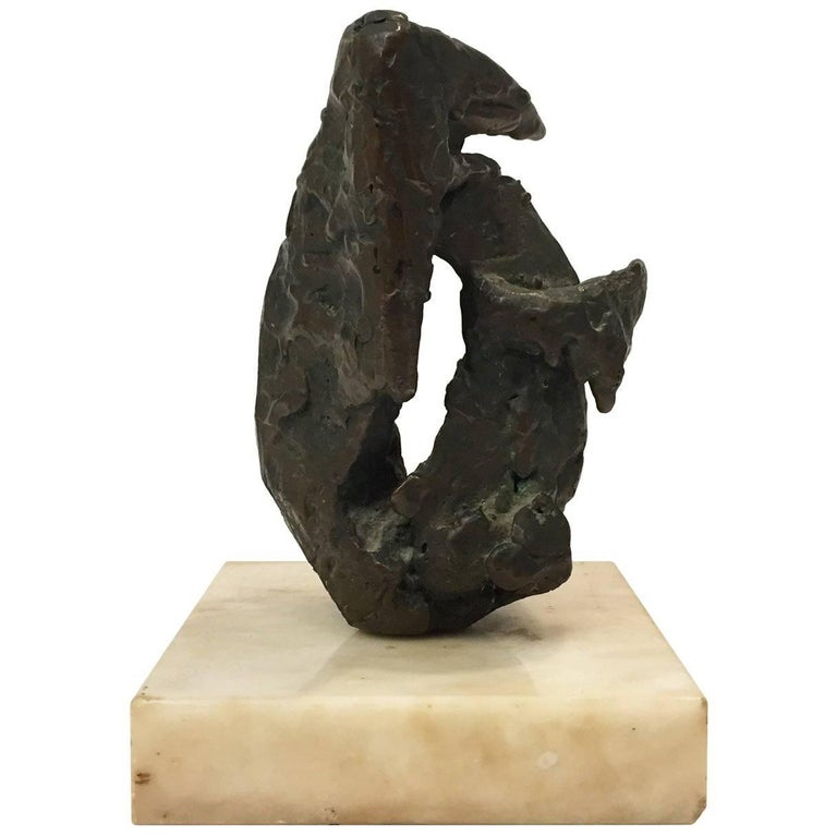Small Midcentury Abstract Bronze Sculpture on Marble Base 1