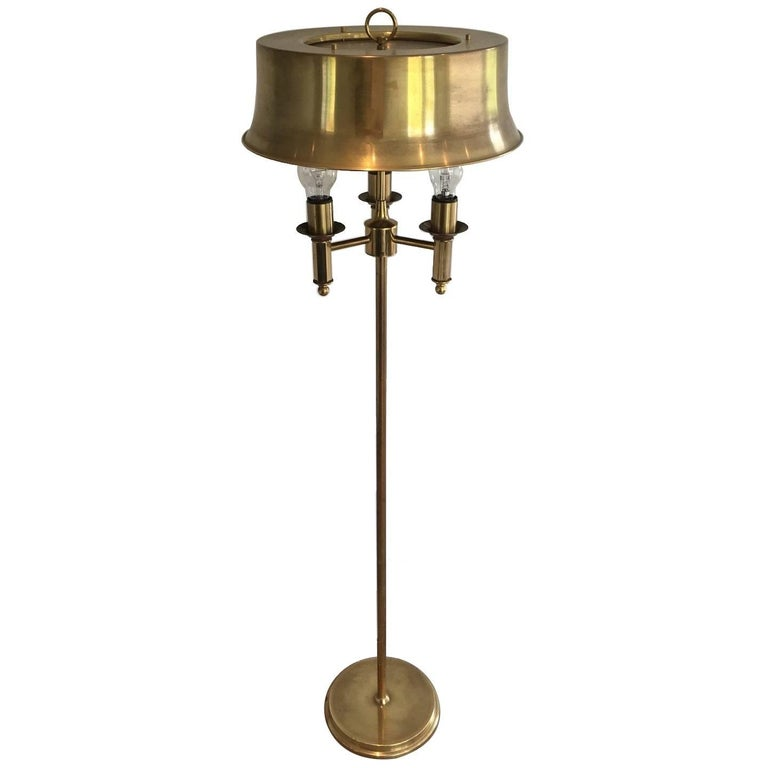 Brass Floor Lamp With a Brass Shade, Attributed to Maison Charles