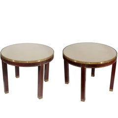 1970s Pair of Round Mahogany Wood and Brass Side Tables