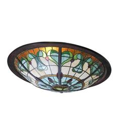 A monumental sized glass-in-lead Art Nouveau ceiling light, bar look