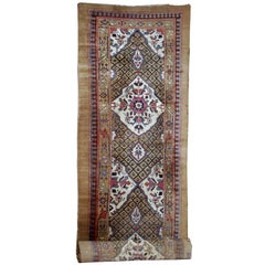 Handmade Antique Persian Camel Hair Runner, 1880s