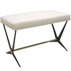 French Midcentury Steel Bench with Upholstered Seat by Angelo Ostuni, circa 1960