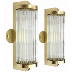 Brass and Glass Rod Wall Sconces, Italy, circa 1970s