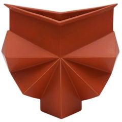 Rare Burnt Orange Geometric Stoneware Vase by Jan van der Vaart, Signed/Numbered