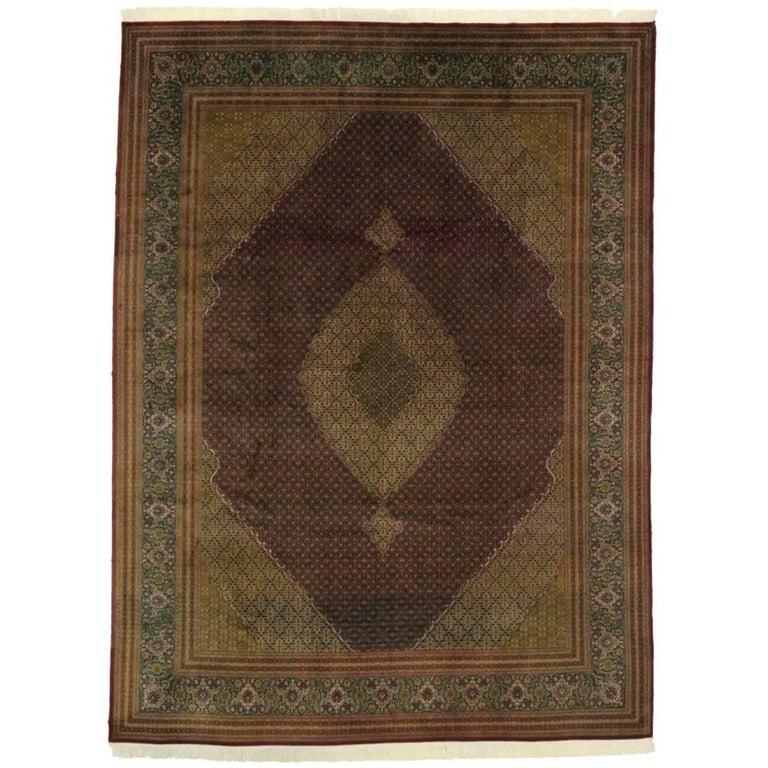 Vintage Persian Mahi Design Tabriz Rug with Traditional Style