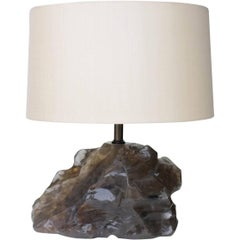Horizontal Scholar Rock Lamp - Smoke Crystal by Robert Kuo, Limited, in Stock