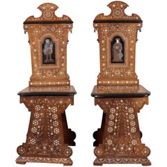 Pair of Antique Italian Palace Inlaid Hall Chairs, circa 1860