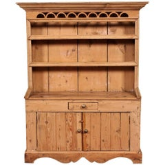 Rare Child's Size Antique Carved Pine Stepback Cupboard