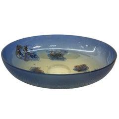 Massive Barbini Scavo Glass Bowl, 1960, Murano, Italy, Signed e sticker